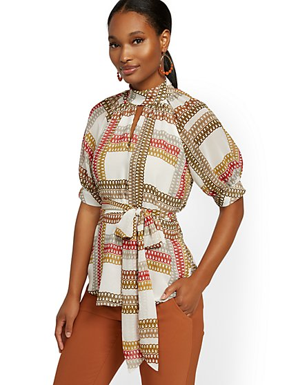 Link-Print Puff-Sleeve Blouse - 7th Avenue - New York & Company