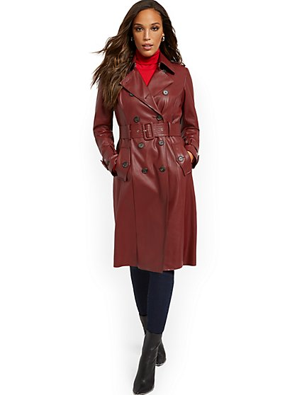 Long Faux-Leather Trenchcoat - New York & Company