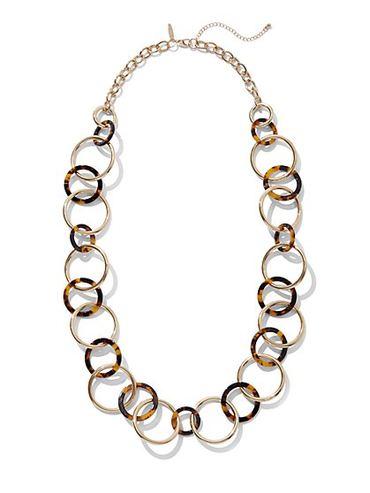 Long Leopard-Print Link Necklace - New York & Company
