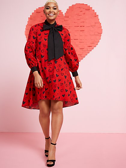 Long-Sleeve Babydoll Heart Dress - New York & Company