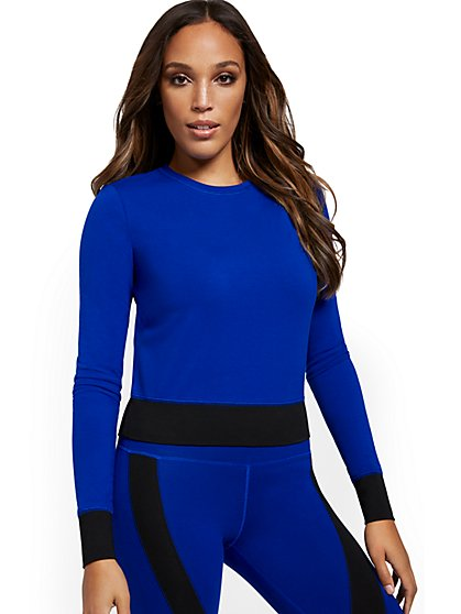 Long-Sleeve Colorblock Yoga Top - New York & Company