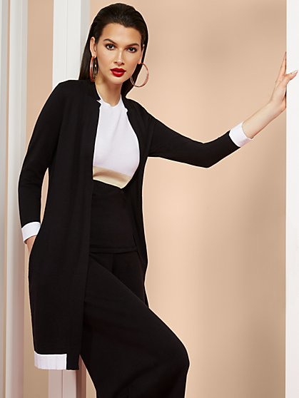 Long-Sleeve Contrast-Hem Cardigan - New York & Company