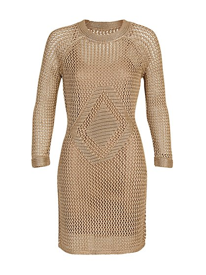 Long-Sleeve Crochet Dress - The NY&C Legacy Collection - New York & Company