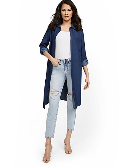 Long-Sleeve Denim Duster - New York & Company