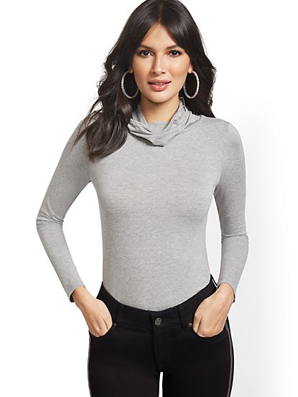 Long-Sleeve Face Mask Top - New York & Company