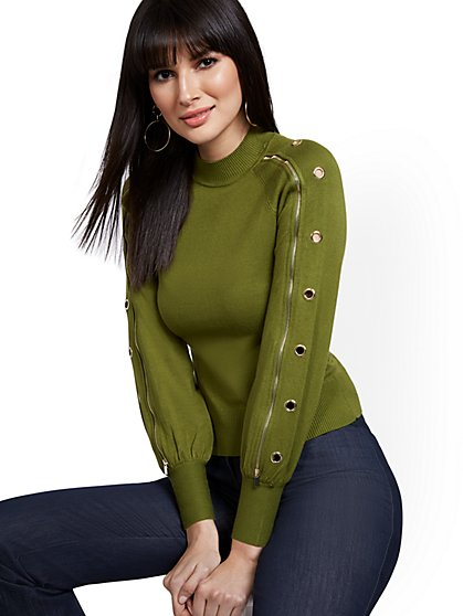 Long-Sleeve Grommet Sweater - New York & Company