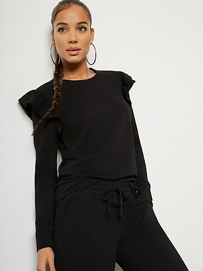 Long-Sleeve Ruffle-Shoulder Top - New York & Company