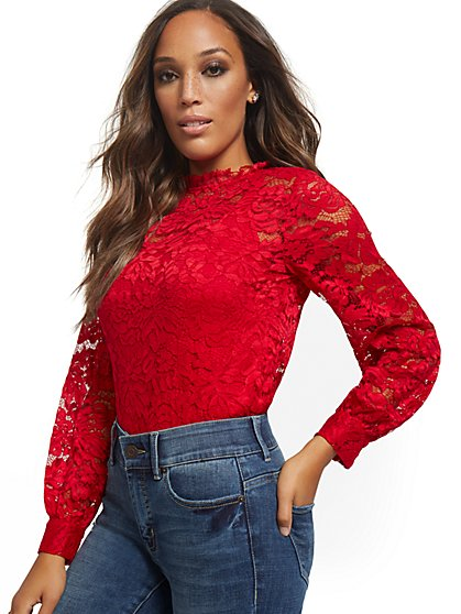 Long-Sleeved Lace Top - New York & Company