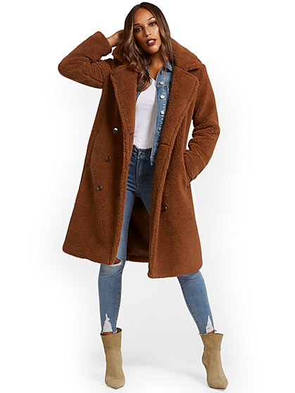 Long Teddy Faux-Fur Coat - New York & Company