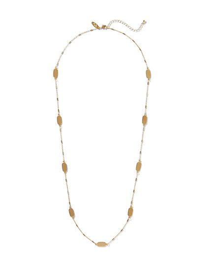 Longline Gold Tag Necklace - New York & Company