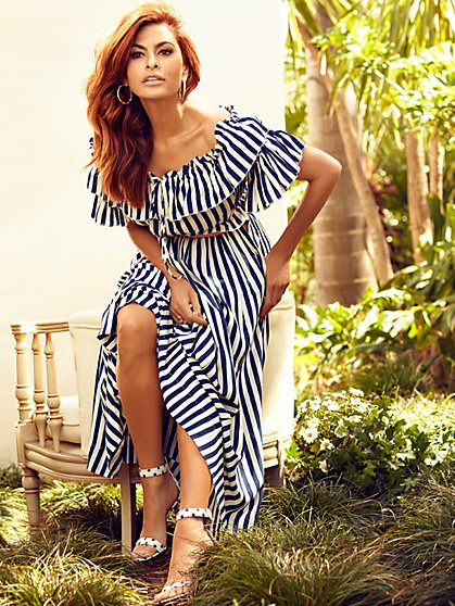 Luci Stripe Off-The-Shoulder Blouse - Eva Mendes Collection - New York & Company