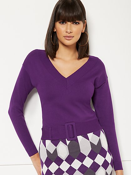 Lucia V-Neck Belted Sweater - Eva Mendes Collection - New York & Company