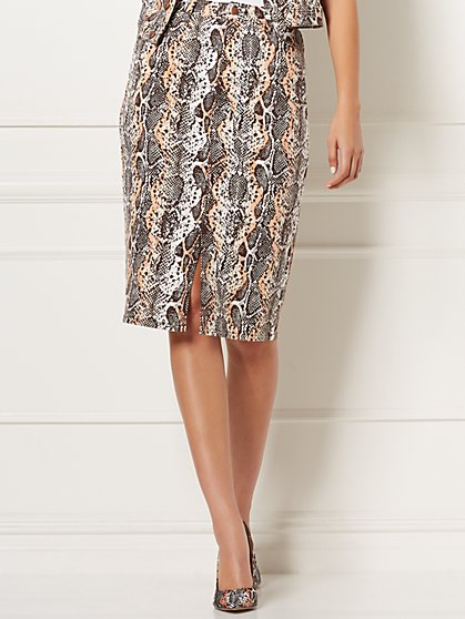 Mabel Snake-Print Denim Skirt - Eva Mendes Collection - New York & Company