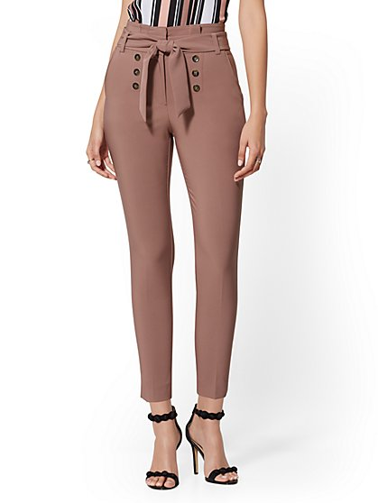 Madie Button-Front Slim Pant - 7th Avenue - New York & Company
