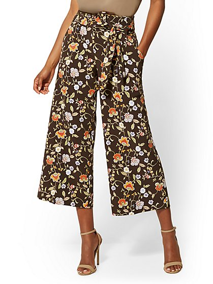 Madie Crop Pant - Brown Floral - 7th Avenue - New York & Company