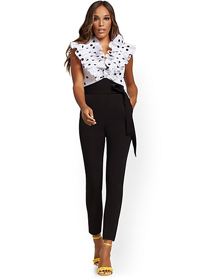Madie Dot-Print Ruffled Jumpsuit - New York & Company