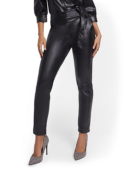 Madie Faux Leather Slim-Leg Pant - New York & Company