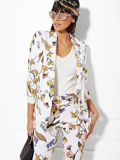 Madie Floral Open-Front Blazer - 7th Avenue - New York & Company