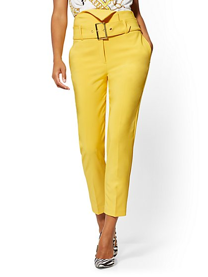 Madie Foldover Pant - Yellow - 7th Avenue - New York & Company