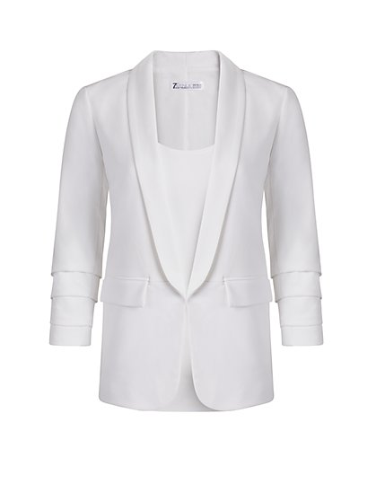Madie Open-Front Jacket - White - New York & Company