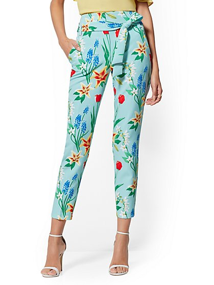 Madie Pant - Aquarmarine Floral - 7th Avenue - New York & Company