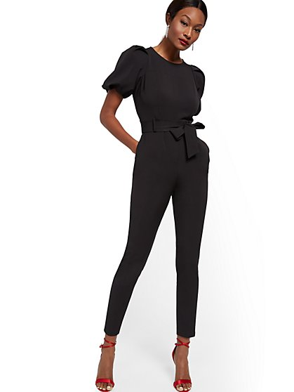 Madie Puff-Sleeve Belted Jumpsuit - 7th Avenue - New York & Company