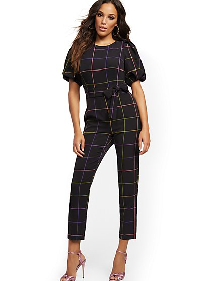 Madie Puff-Sleeve Rainbow-Plaid Jumpsuit - 7th Avenue - New York & Company