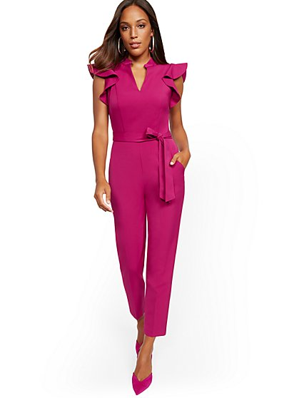 Madie Ruffled-Shoulder Jumpsuit - 7th Avenue - New York & Company