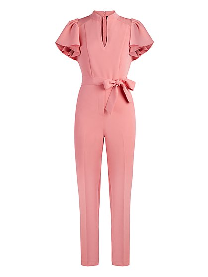 Madie Ruffled-Sleeve Belted Jumpsuit - 7th Avenue - New York & Company