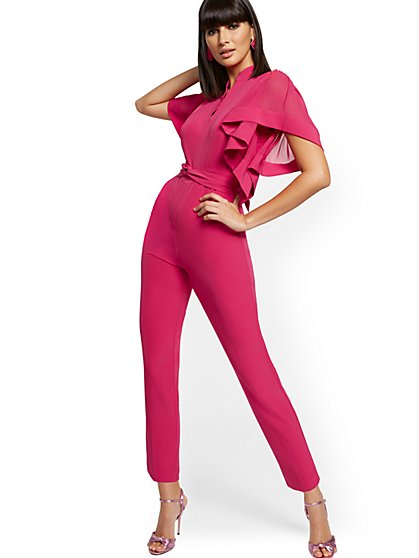 Madie Sheer Ruffle-Sleeve Jumpsuit - New York & Company