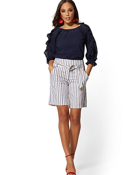 Madie Stripe Bermuda Short - Modern - 7th Avenue - New York & Company