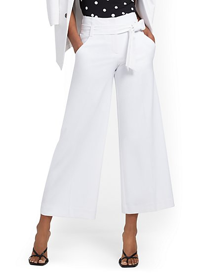Madie Wide-Leg Capri Pant - 7th Avenue - White - New York & Company