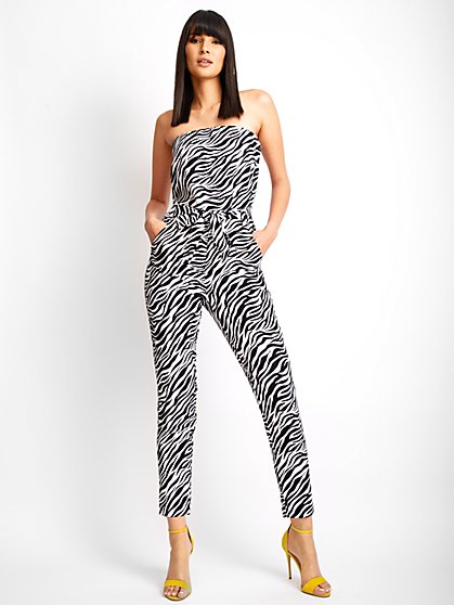 Madie Zebra Strapless Jumpsuit - 7th Avenue - New York & Company