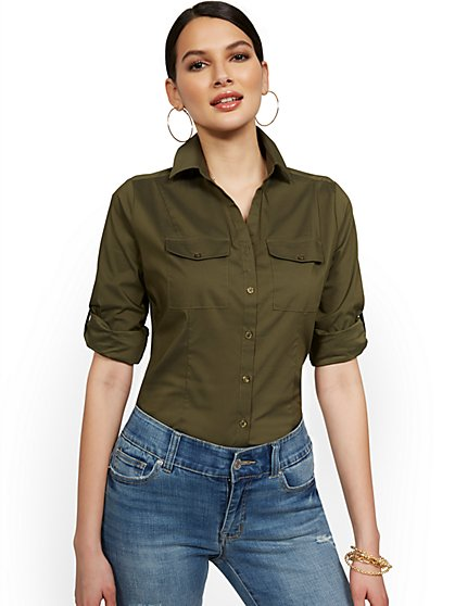 Madison 3/4-Sleeve Stretch Shirt - 7th Avenue - New York & Company