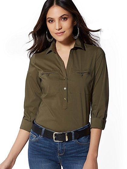 Madison Popover Stretch Shirt - 7th Avenue - New York & Company