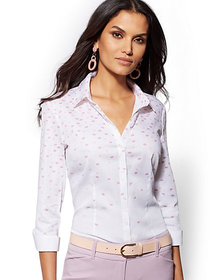 Madison Stretch Shirt - Heart & Kiss Print - 7th Avenue - New York & Company