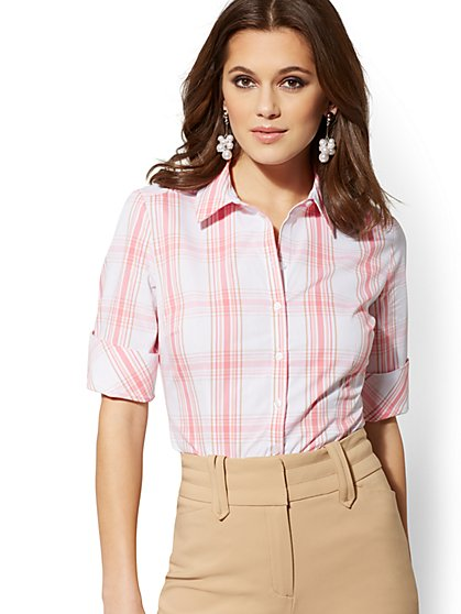 Madison Stretch Shirt - Plaid - 7th Avenue - New York & Company