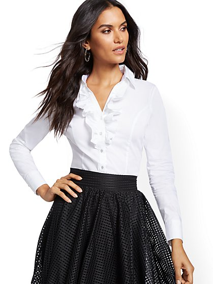 Madison Stretch Shirt - Ruffled - Secret Snap - 7th Avenue - New York & Company