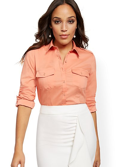 Madison Stretch Shirt - Secret Snap Closure - New York & Company