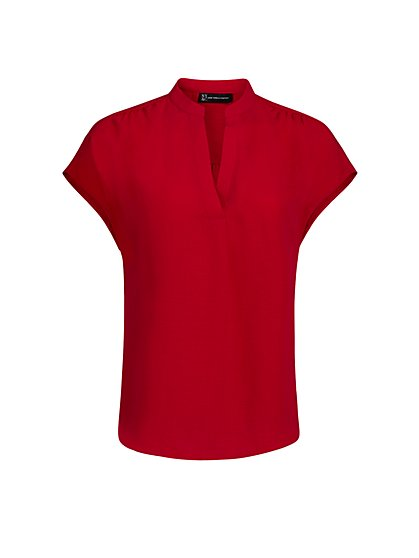 Mandarin Collar Split-Neck Top - New York & Company