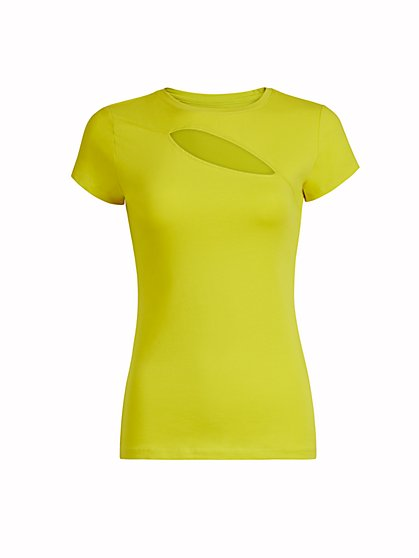 Manhattan Asymmetrical Cutout Tee - New York & Company