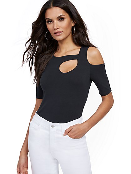Manhattan Cutout Cold-Shoulder Top - New York & Company