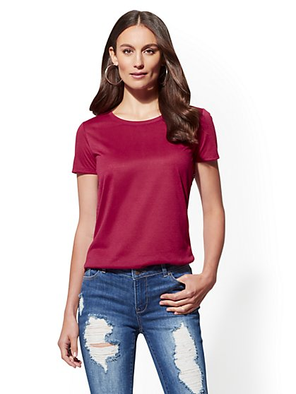 Manhattan Tee - Print Pleated Back - New York & Company
