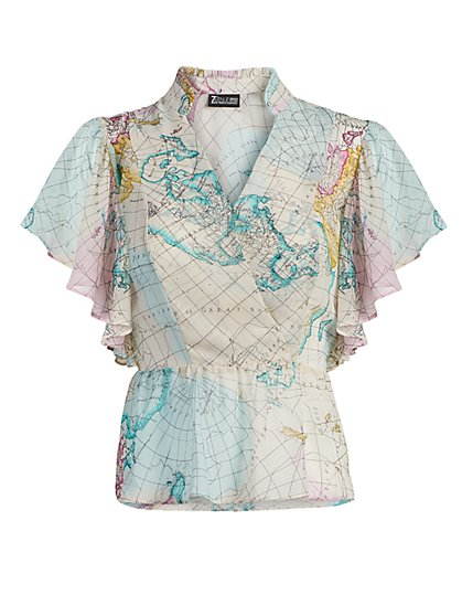 Map-Print Ruffle Peplum Top - 7th Avenue - New York & Company