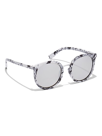 Marbleized Round Sunglasses - New York & Company