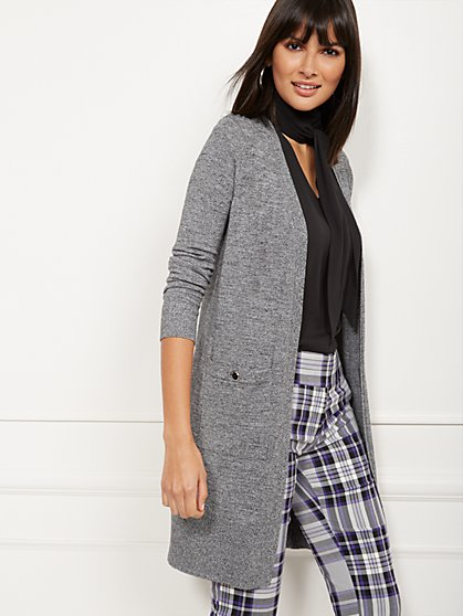 Marled Button-Accent Cardigan - 7th Avenue - New York & Company