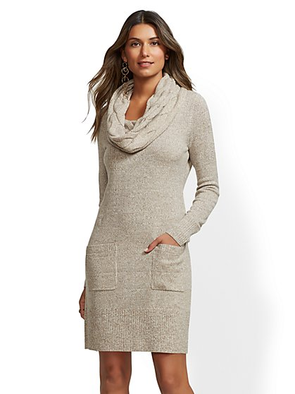 Marled Cowl-Neck Sweater Dress - New York & Company
