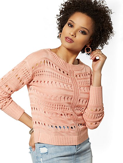 Marled Open-Stitch Sweater - New York & Company