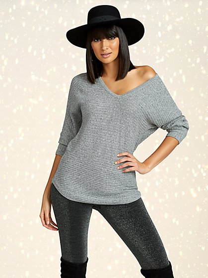 Marled V-Neck Dolman Tunic Sweater - New York & Company