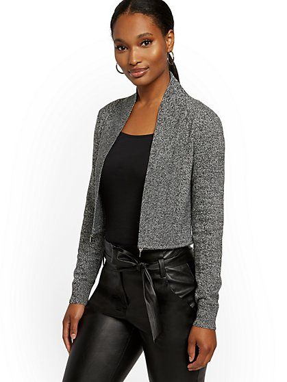 Marled Ziparound Shawl-Collar Cardigan - New York & Company